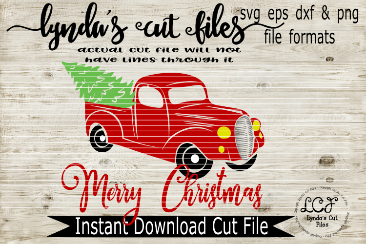 Merry Christmas with Red Truck//SVG//EPS//DXF example image 1