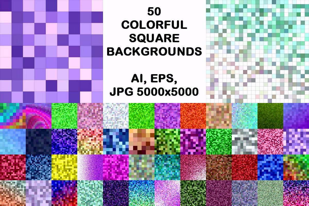 50 colorful square backgrounds AI, EPS, JPG 5000x5000 example image 1