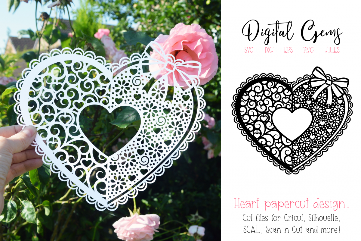 Love heart paper cut design. SVG / DXF / EPS / PNG files example image 1