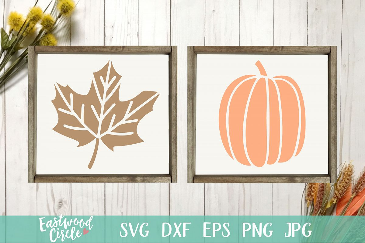 Pumpkin And Maple Leaf - Fall SVG Files for Signs example image 1