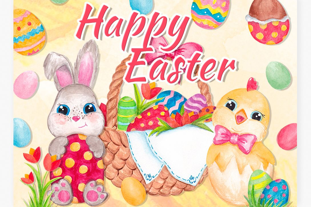 Easter clipart Watercolor Easter bunny and Chick graphics example image 1