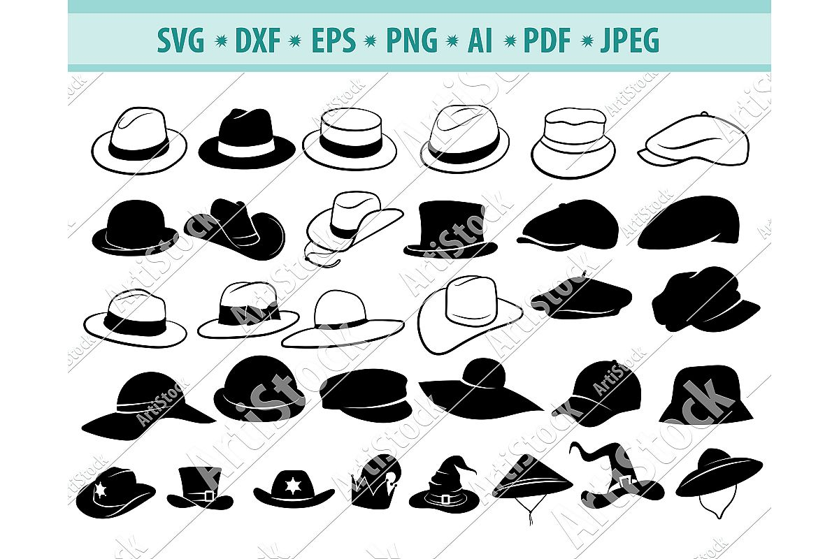Hat SVG, Fedora Hat Svg, Top Hat, Hat Clipart, Dxf, Png, Eps example image 1