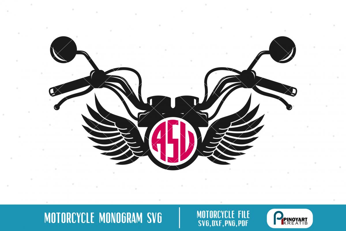 Motorcycle Monogram Cut File A Motorcycle Vector