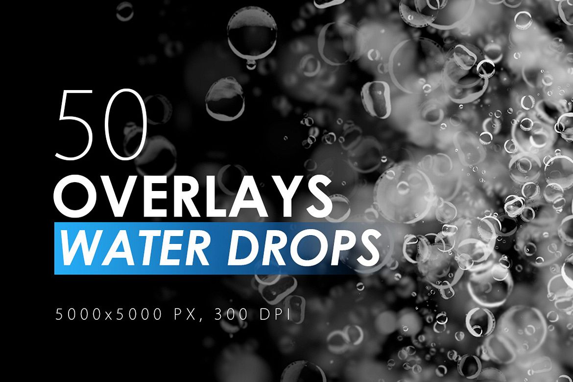 50 Water Drops Overlays example image 1