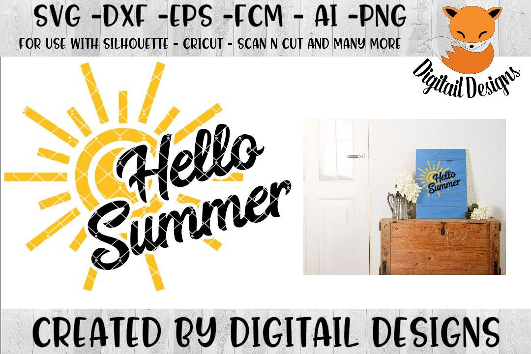 Hello Summer SVG for Silhouette, Cricut