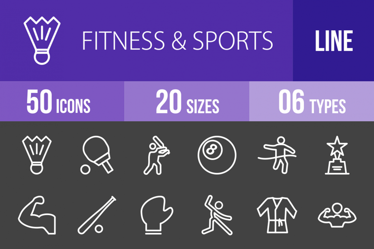 50 Fitness & Sports Line Inverted Icons example image 1