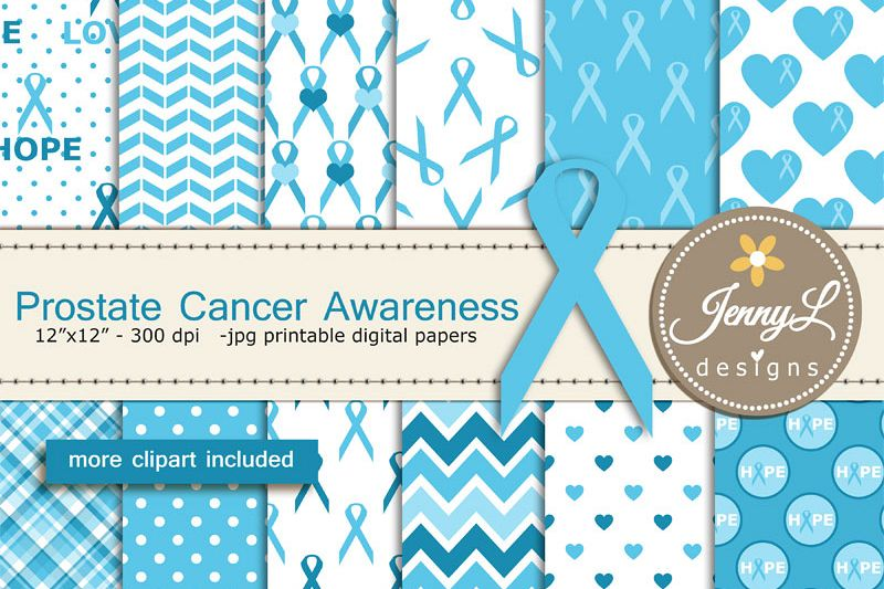 Prostate Cancer Awareness Digital Papers And Clipart Blue Ribbon Example Image 1