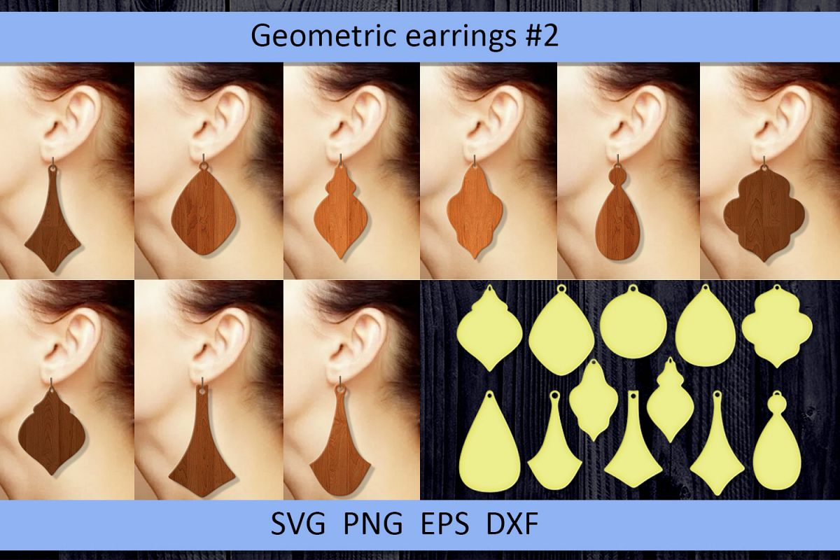 12 Geometric earrings svg Wood earrings svg Necklace svg example image 1