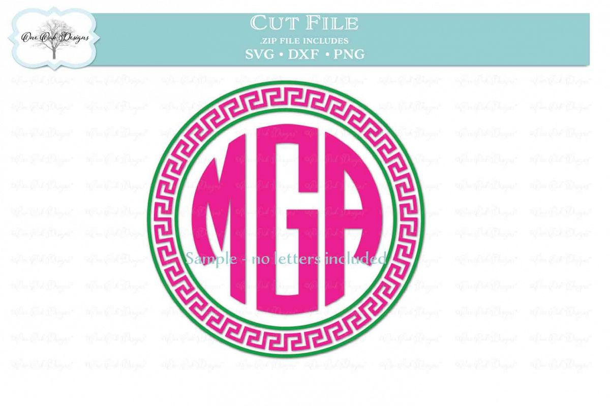 Greek Key Circle Frame for Monogram example image 1