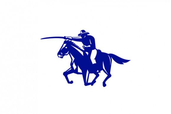 American Cavalry Charging Retro example image 1