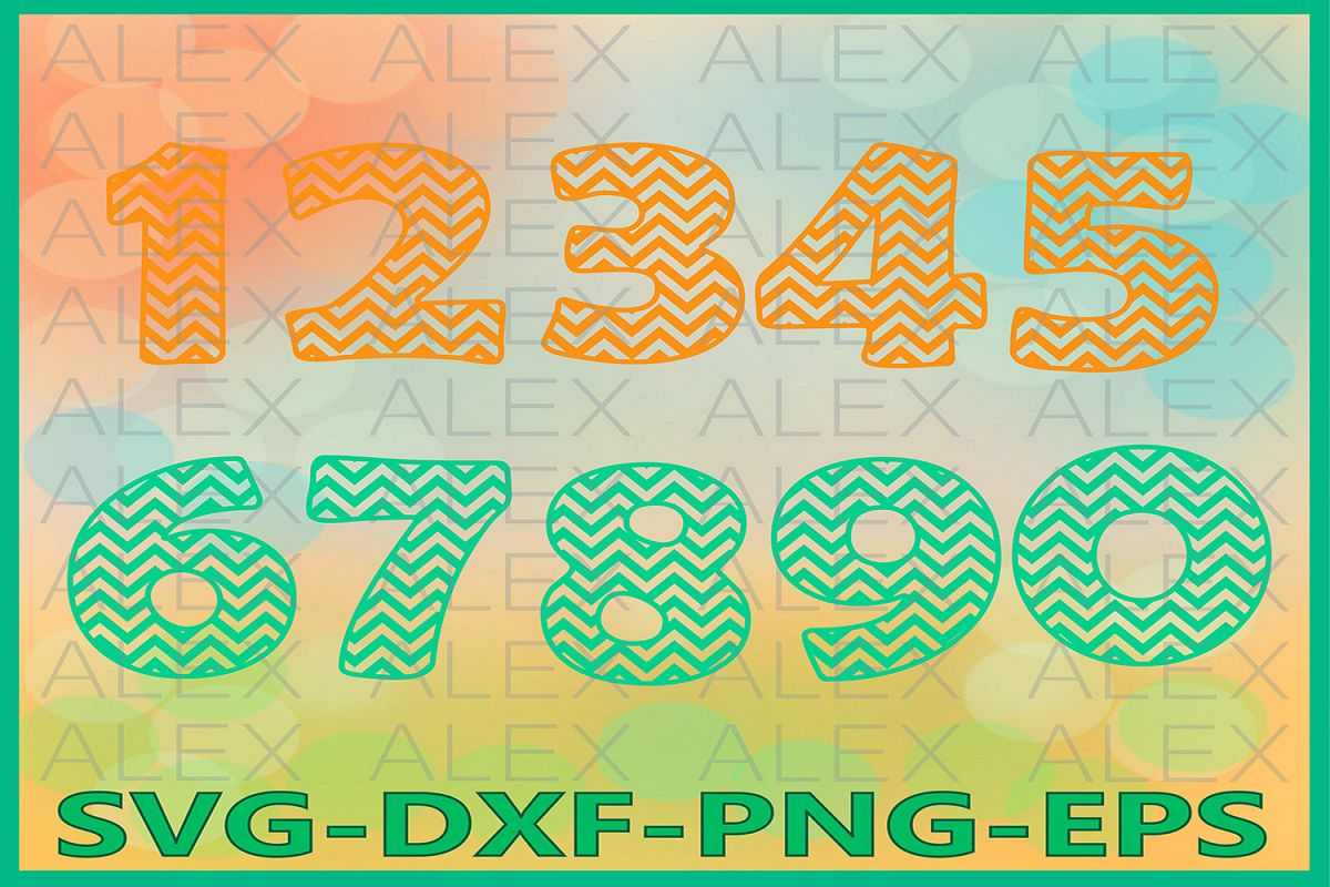 Numbers Chevron SVG Files, Numbers Svg example image 1