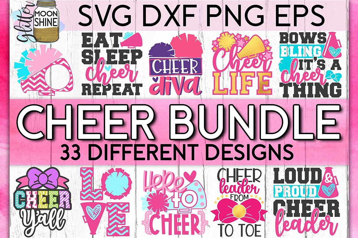 Cheerleading Bundle of 33 SVG DXF PNG EPS Cutting Files example image 1