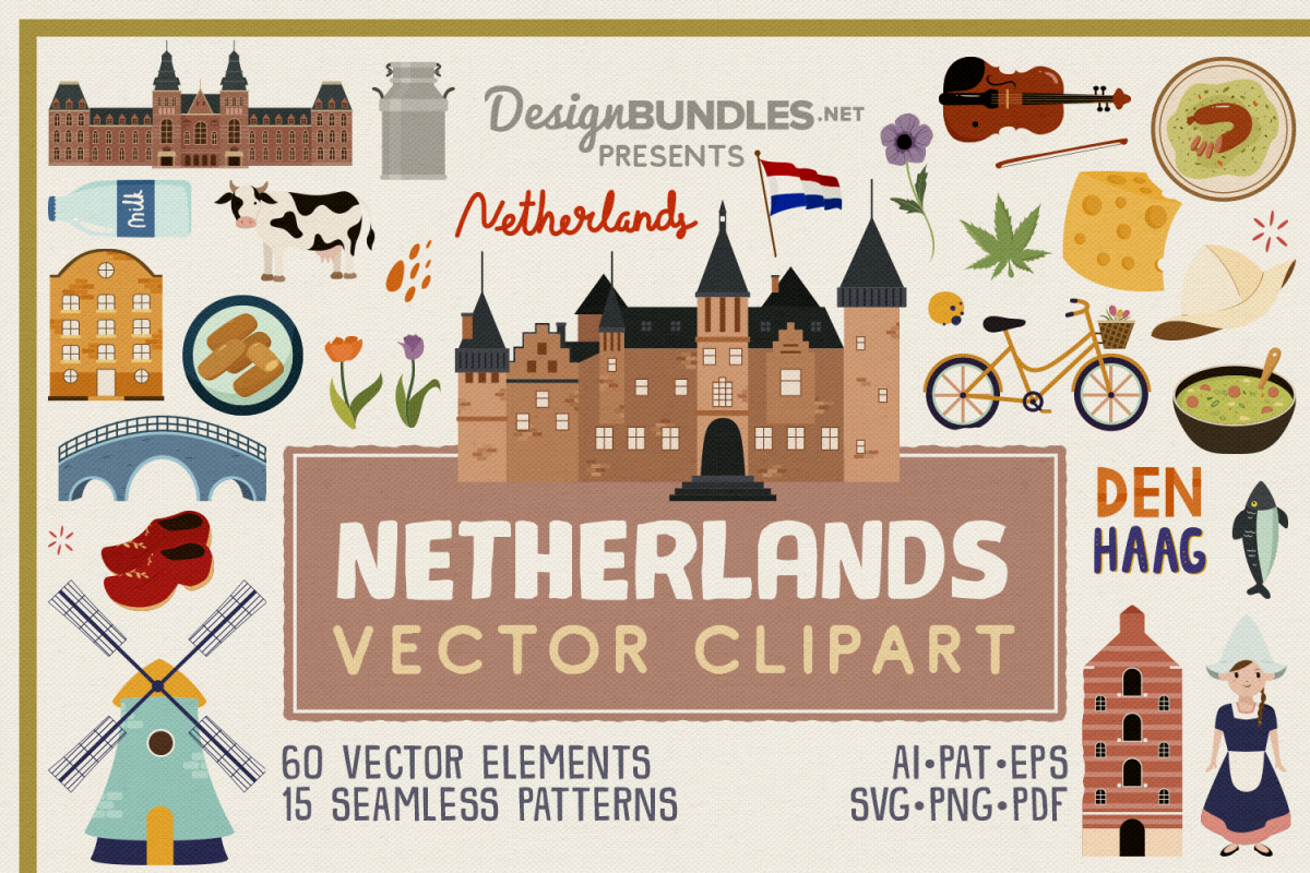 Netherlands Vector Clipart and Seamless Pattern example image 1