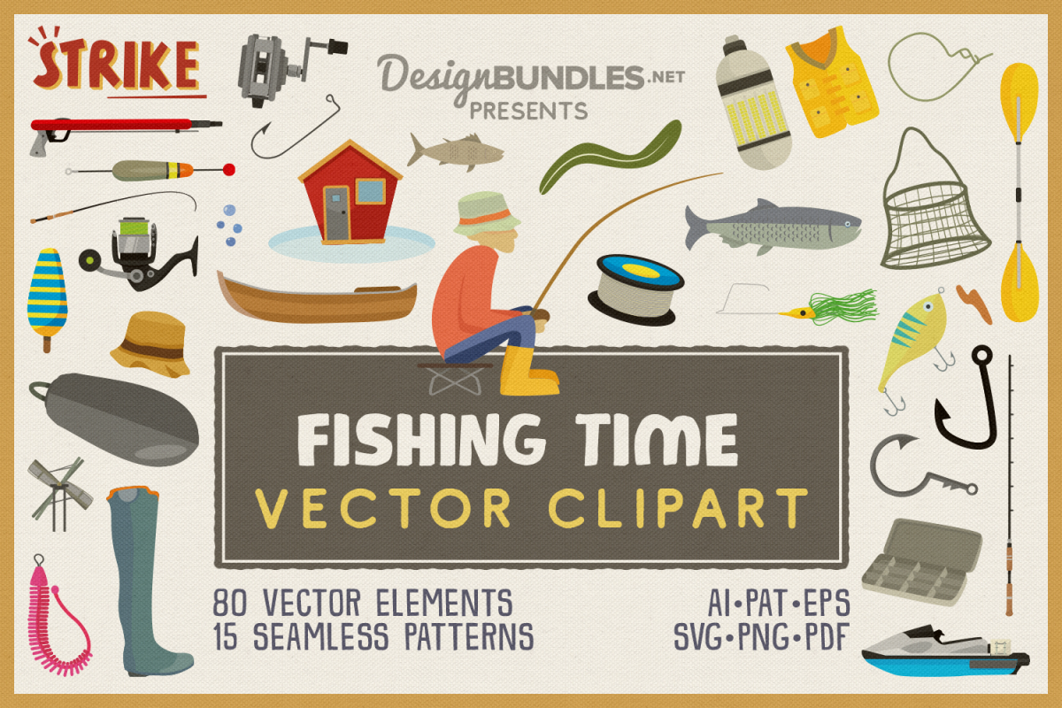 Fishing Time Vector Clipart and Seamless Pattern example image 1