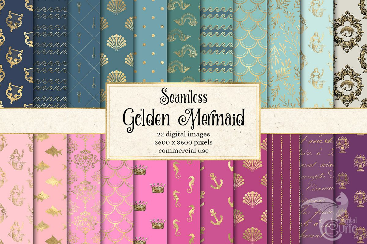 Golden Mermaid Digital Paper example image 1