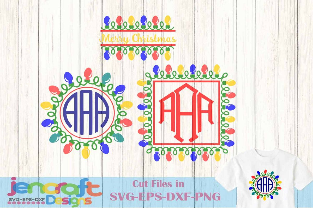 christmas lights monogram frames svg bundle bulb ornaments example image 1