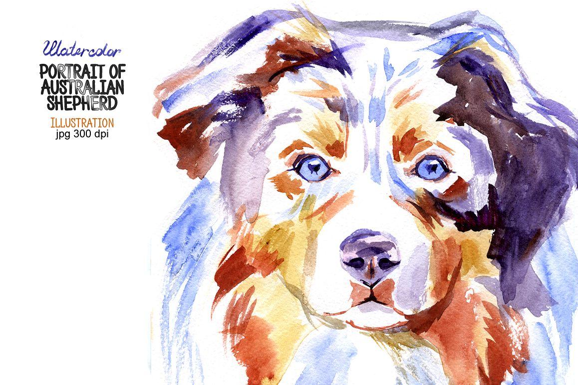 Watercolor Australian shepherd example image 1