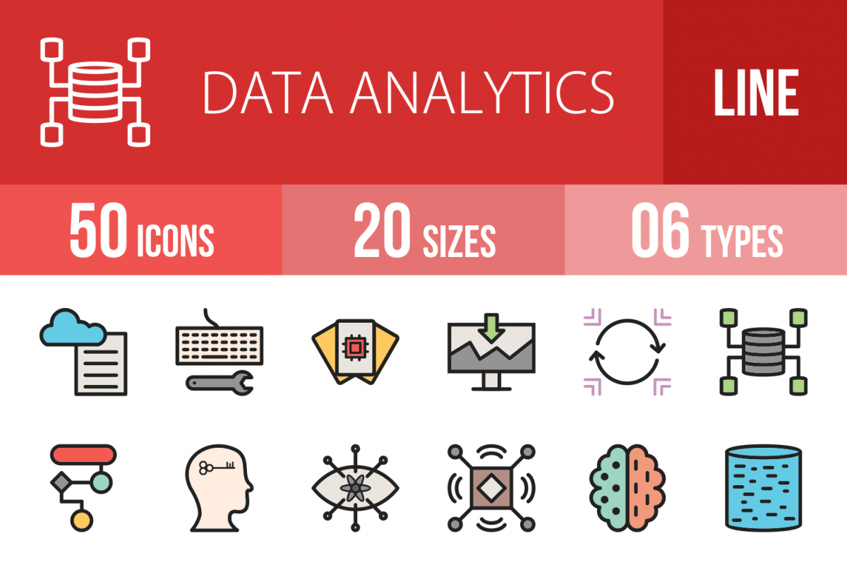50 Data Analytics Linear Multicolor Icons example image 1