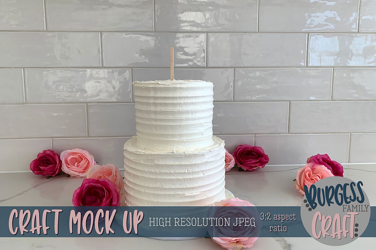 Cake topper scattered flowers Craft mock up | High Res JPEG example image 1