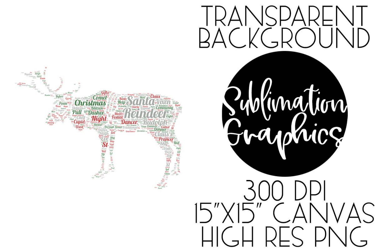 Reindeer Typography Sublimation Digital Download example image 1