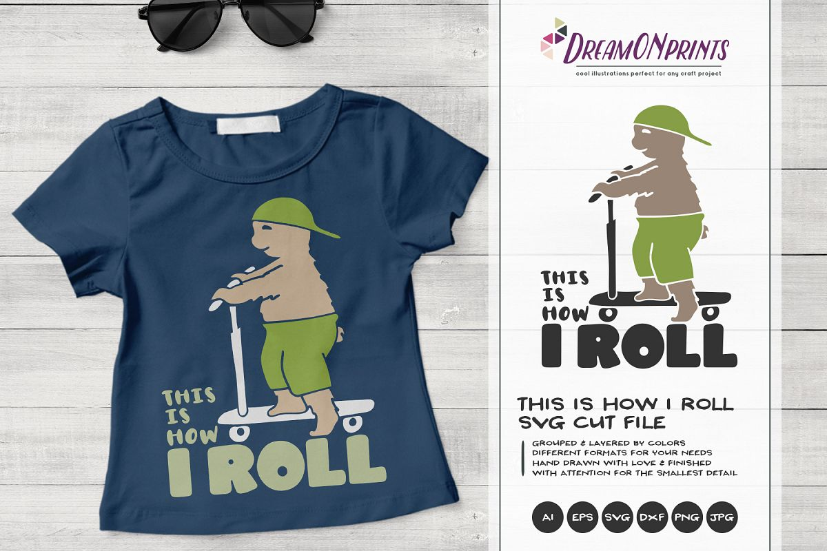 de29a7ed Funny Bear SVG | This is How I Roll | Scooter Svg example image 1