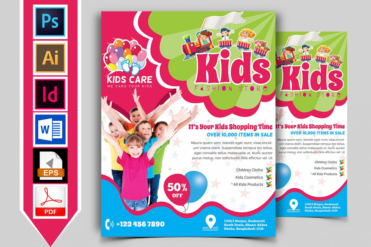 Kids Fashion Shop Flyer Vol-02 example image 1