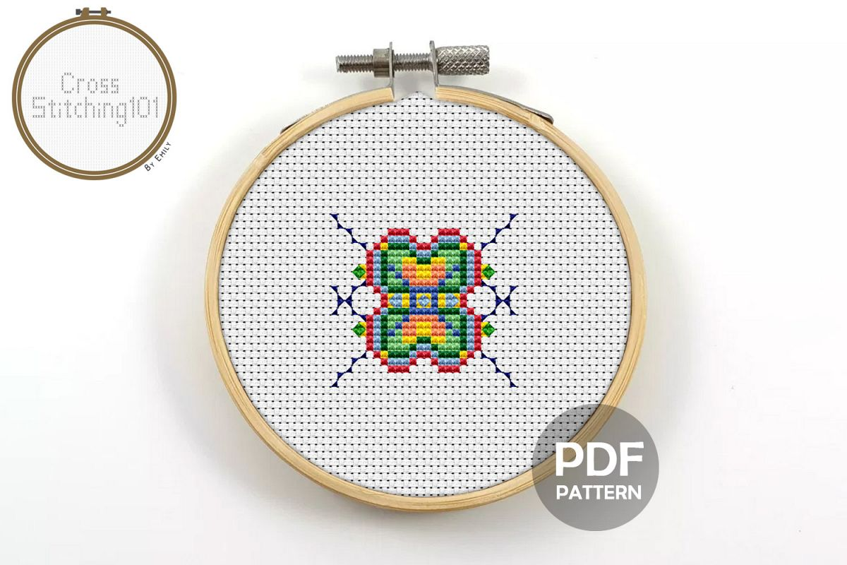 Colorful Square Cross Stitch Pattern - Instant Download PDF example image 1