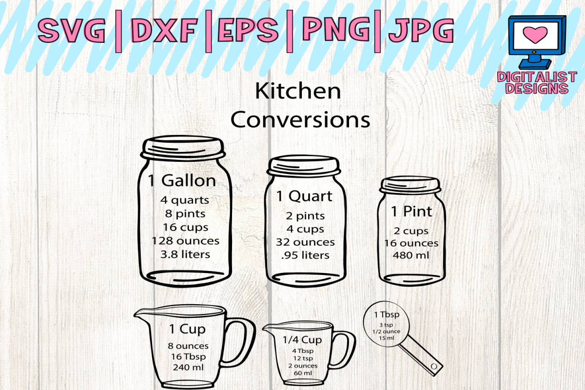 kitchen svg, measuring cups svg, measuring cheat sheet svg, cooking svg, silhouette, cricut cut ...