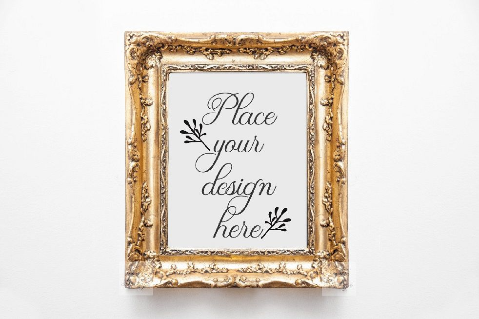 Vintage Victorian style gold frame mockup, Antique frame mock up ...