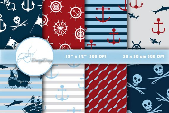 Pirates Digital Papers Scrapbook example image 1