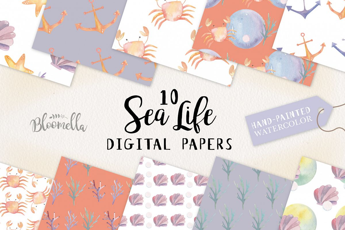 Sea Life Seamless Patterns Digital Papers Crabs Coral Fun example image 1