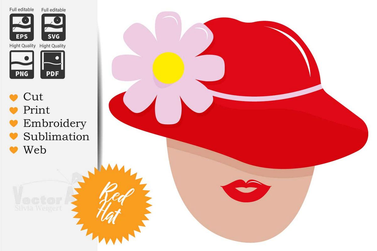 Women with Red Hat - Cut File for Crafter example image 1