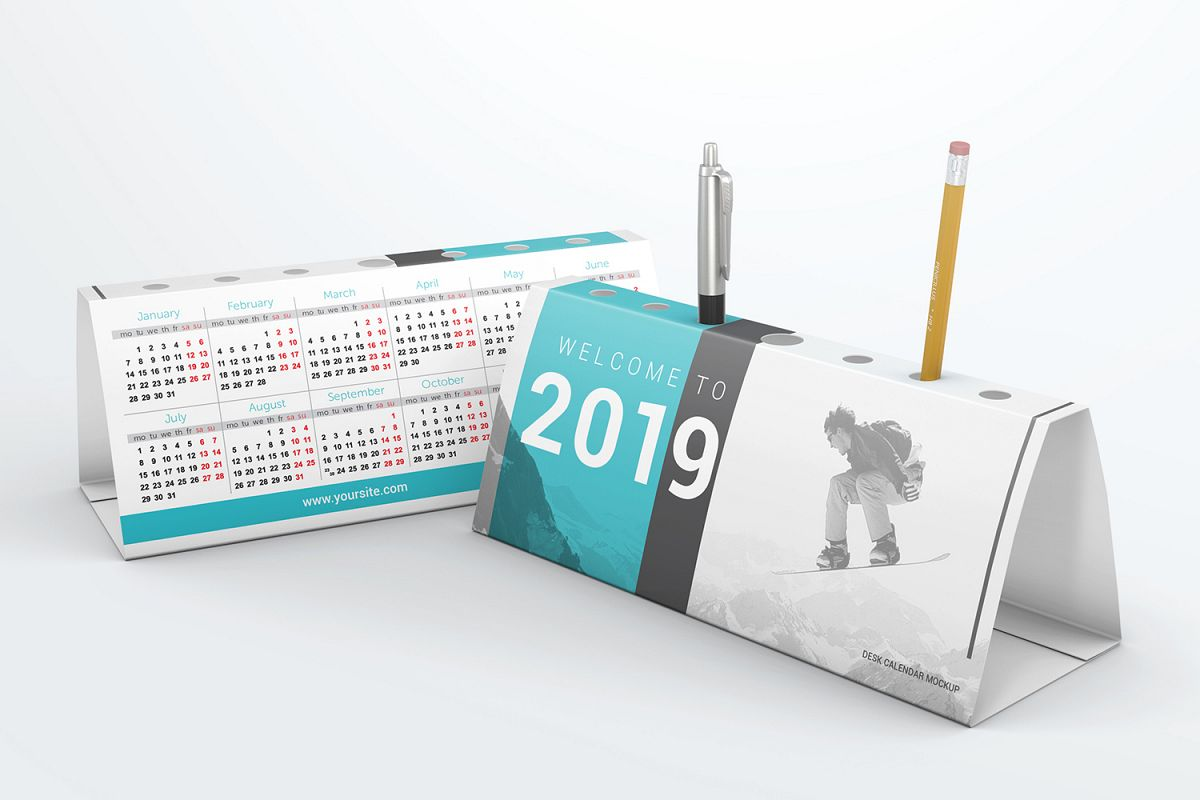 Desk Calendar Pen Holder Mockup example image 1