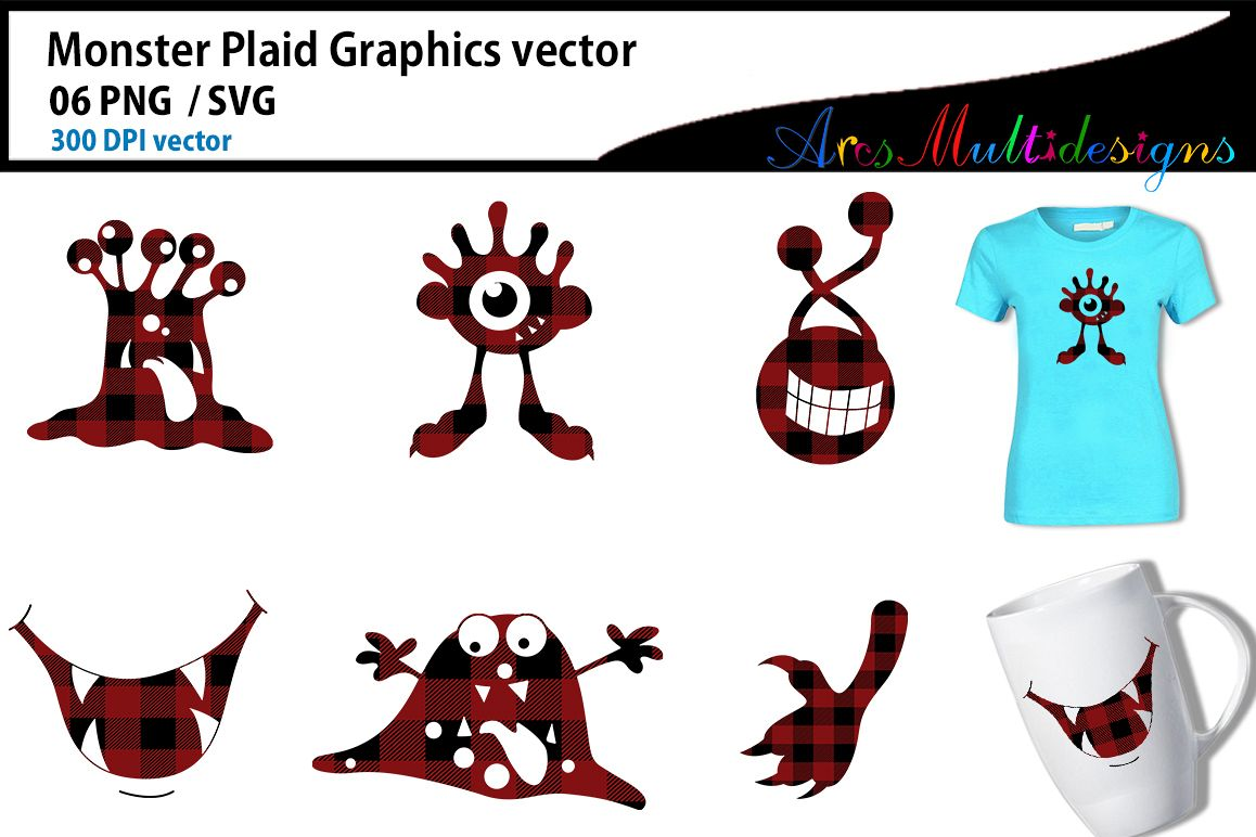 Monster plaid characters svg / cute monster SVG / vector example image 1