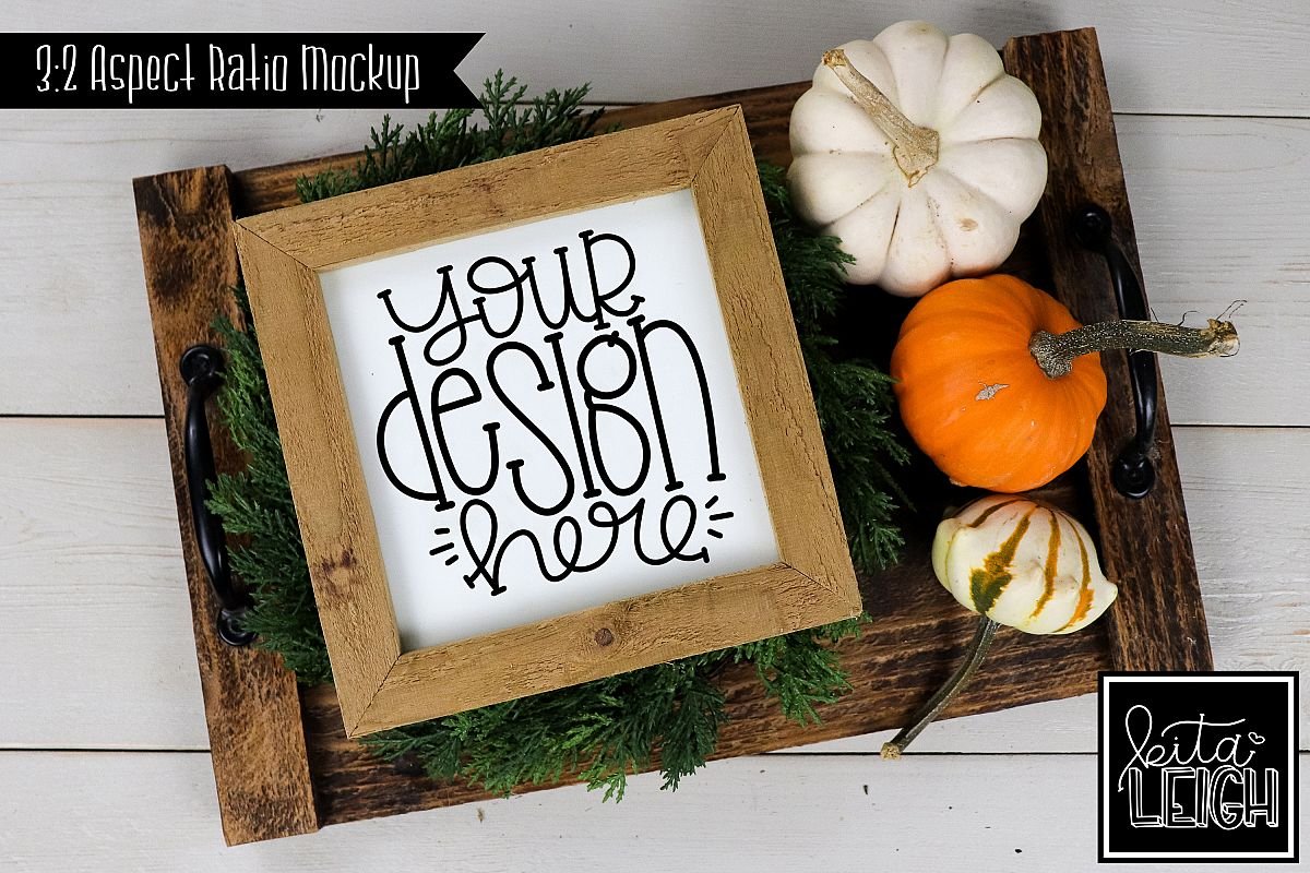 Square Sign Fall Mockup with Pumpkins example image 1