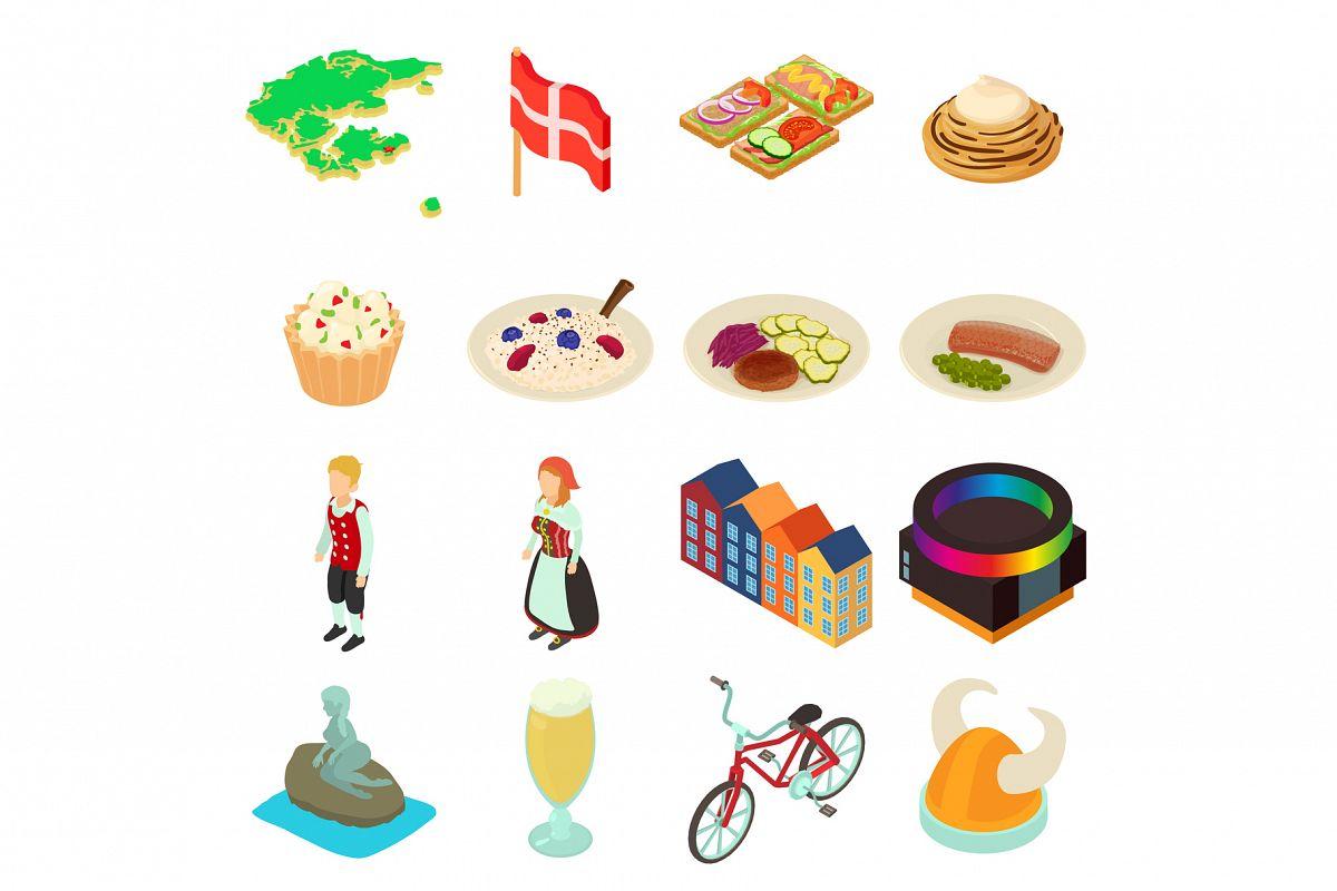 Denmark travel icons set, isometric style example image 1