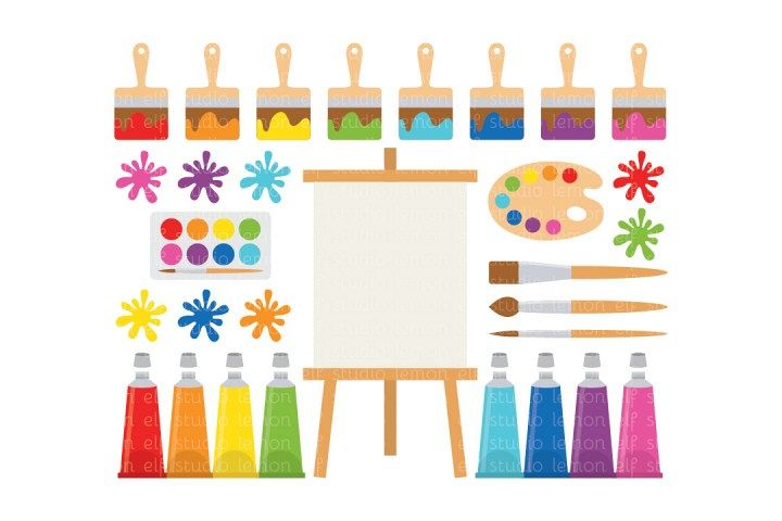 Painting Supplies-Digital Clipart (LES.CL07) example image 1