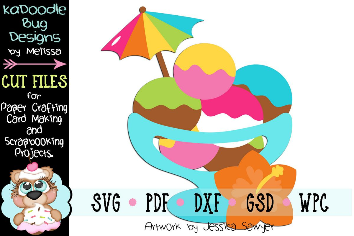 Tropical Ice Cream Cut File - SVG PDF DXF GSD WPC example image 1