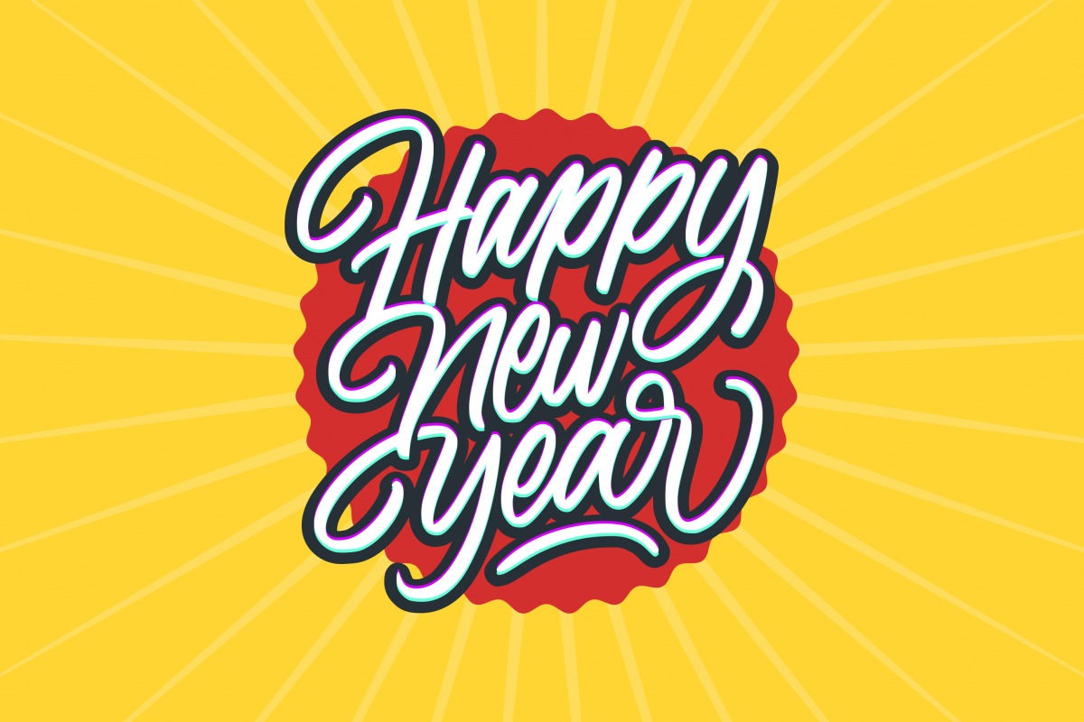 Happy New Year Calligraphy Text Card example image 1