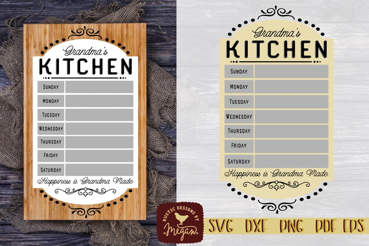 Grandma's Rustic Vintage Menu SVG EPS DXF Cut file example image 1