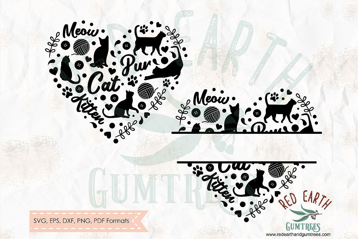 Cat split monogram frame,cat,kitten heart in SVG,DXF,PNG,EPS example image 1