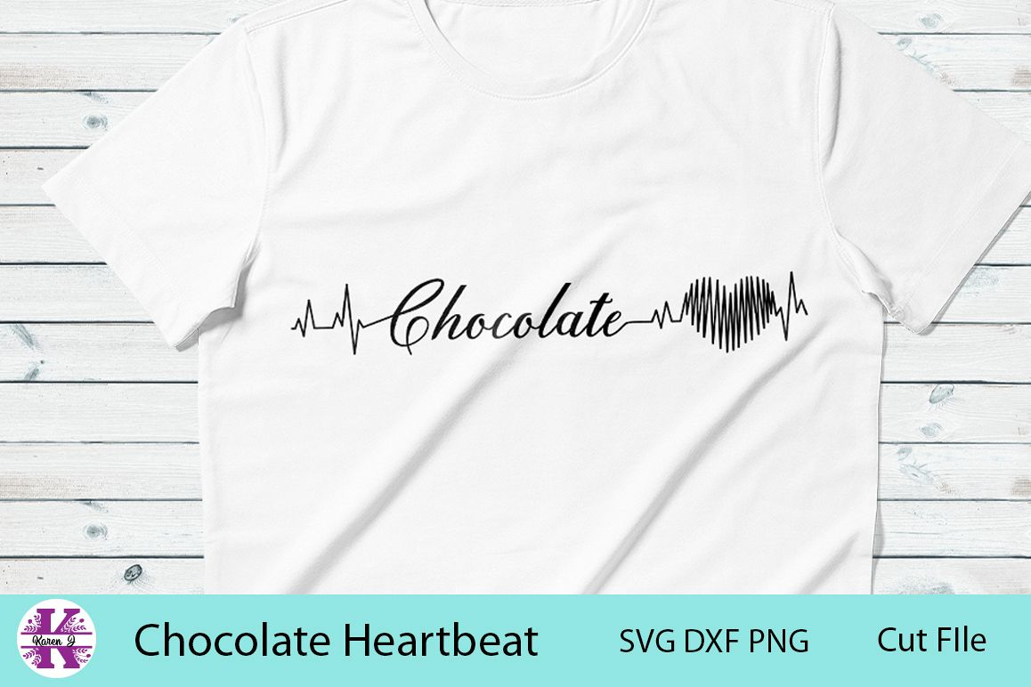 Chocolate Heartbeat -SVG DXF PNG- For Crafters example image 1