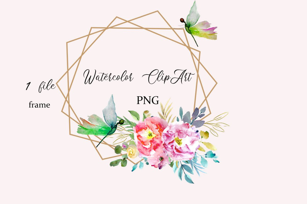 Watercolor Floral Frame Clipart