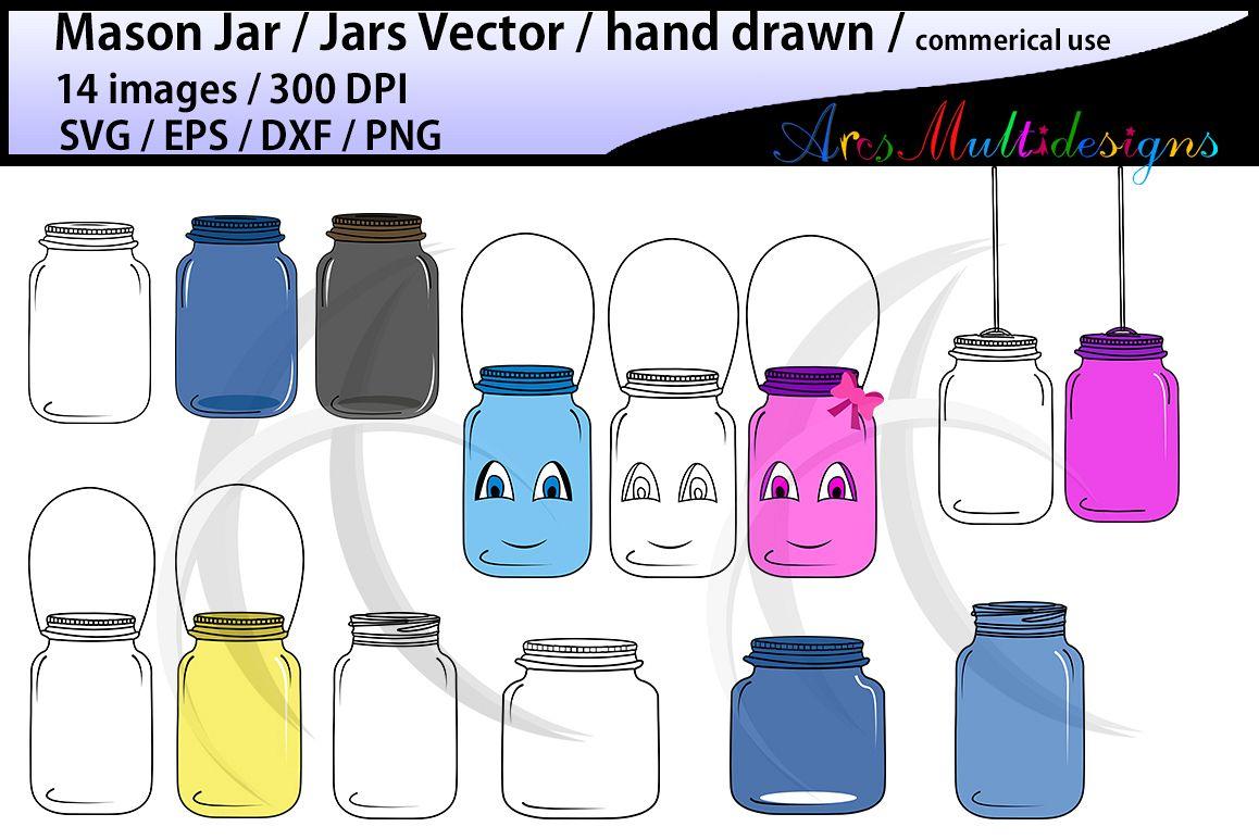 Mason jar clipart set / hand drawn mason jar clipart / mason jar SVG EPS DXF Png / mason jar silhouette / commercial and personal use vector example image 1