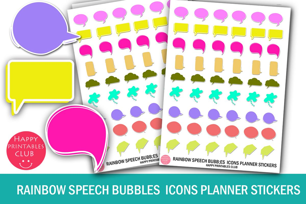 Rainbow Speech Bubbles Icons Planner Stickers- Speech Bubble example image 1