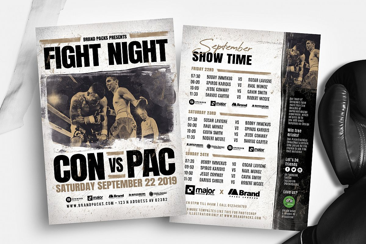 Fight Night Flyer Template example image 1