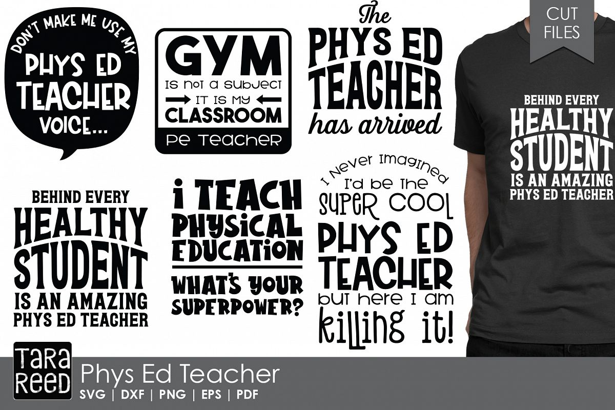 Phys Ed Teacher - School SVG and Cut Files for Crafters example image 1