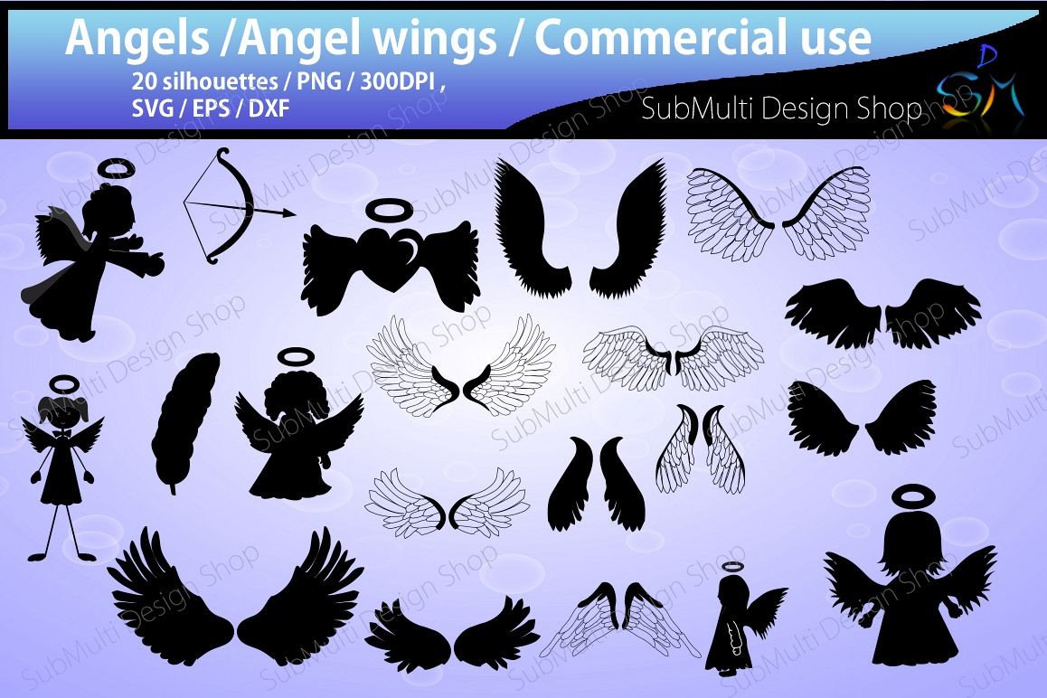 angel Silhouette / angel clipart / High Quality/ wings silhouette /Commercial and Personal use/ SVG / DXf / Png / EPS /digital file, vector example image 1