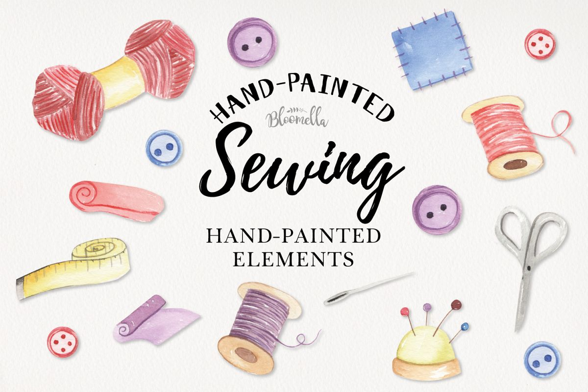 Sewing Pretty Sew Needle Watercolor 13 Elements Wool Stitch example image 1