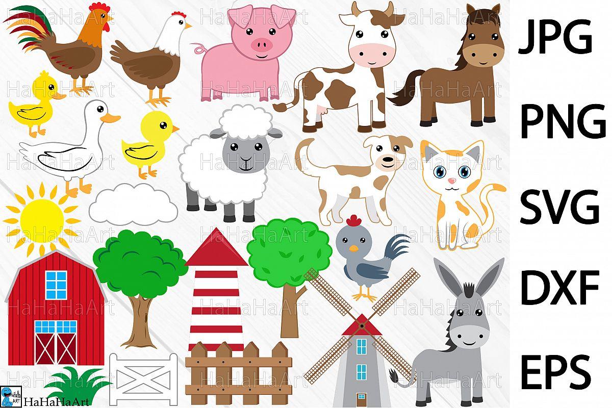 farm animals clip art cutting files design bundles